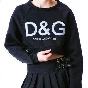 Tops - Drunk & Goth Cropped Sweatshirt